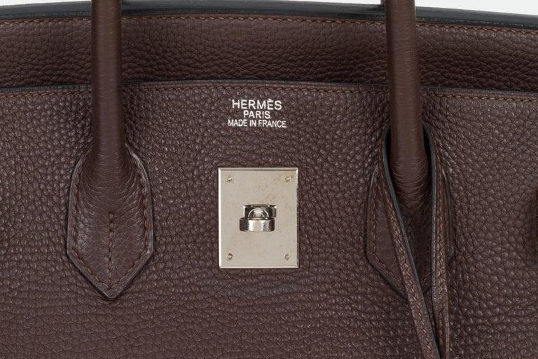 Hermes Birkin 35 Ebene Clemence Leather Bag For Sale 3