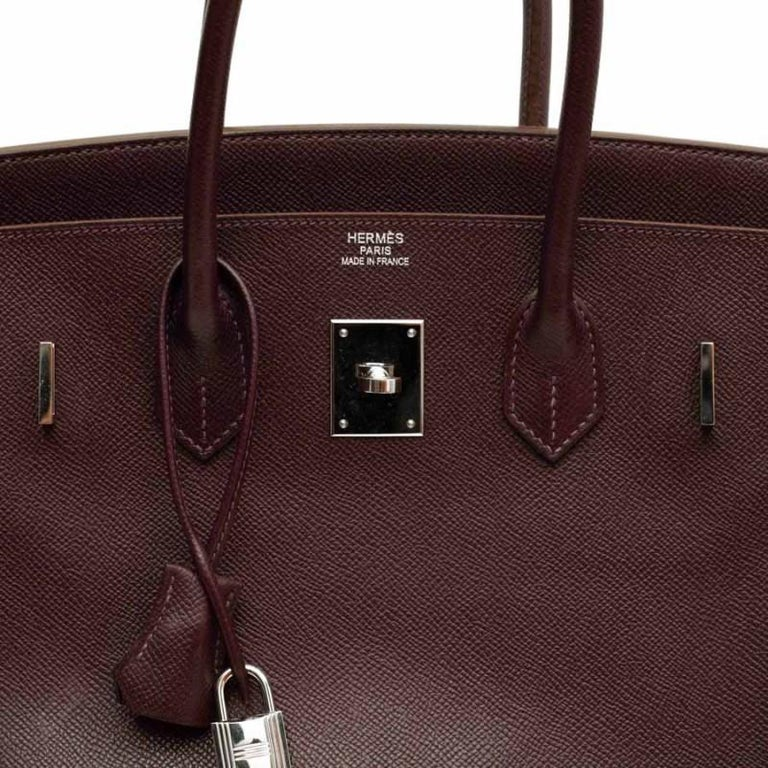 HERMES Birkin 35 Epsom Grape Bag For Sale 6