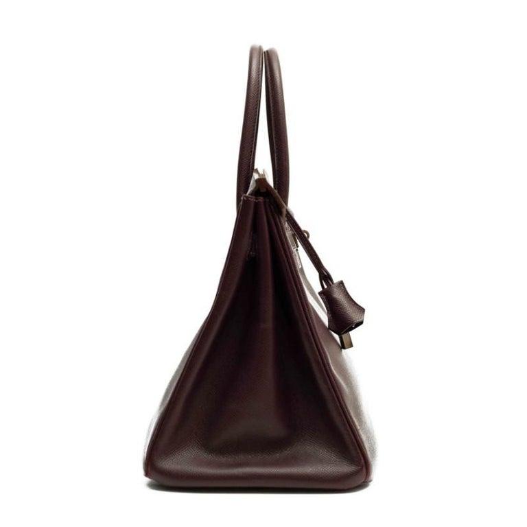 HERMES Birkin 35 Epsom Grape Bag In Good Condition For Sale In Paris, FR