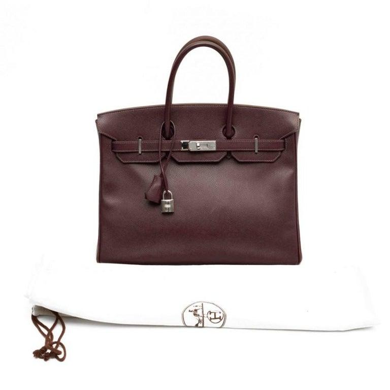 Women's HERMES Birkin 35 Epsom Grape Bag For Sale