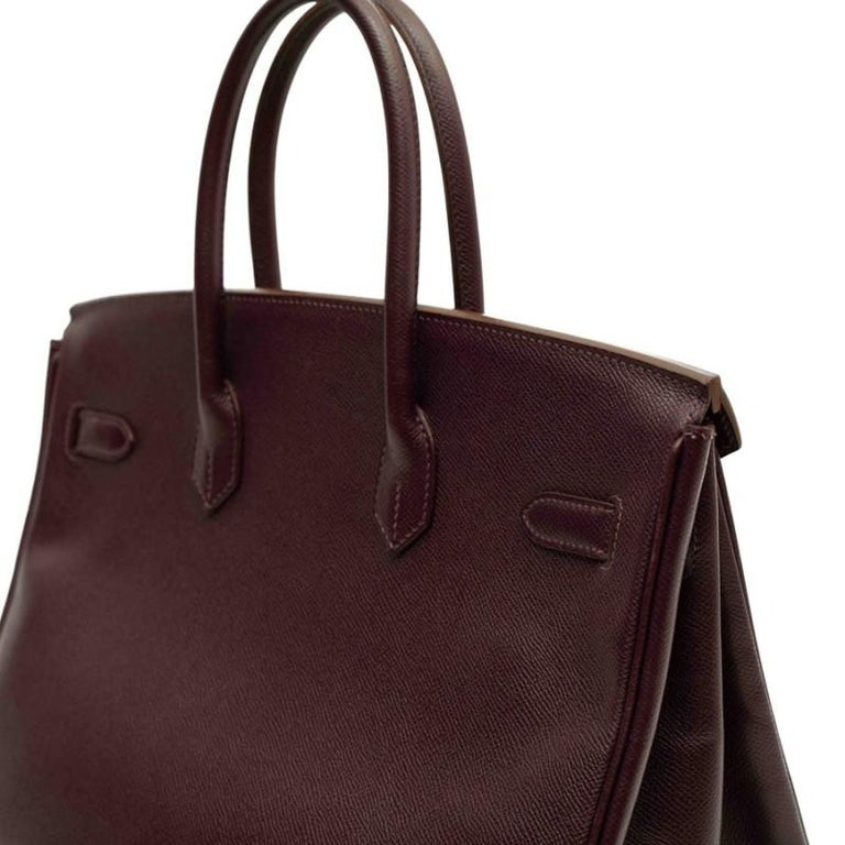HERMES Birkin 35 Epsom Grape Bag For Sale 4