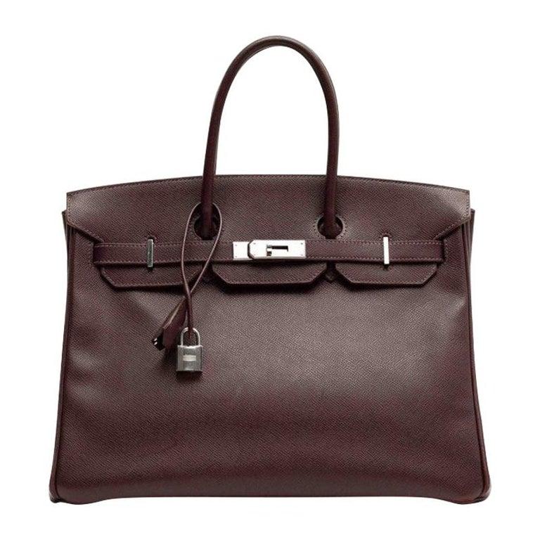 HERMES Birkin 35 Epsom Grape Bag For Sale