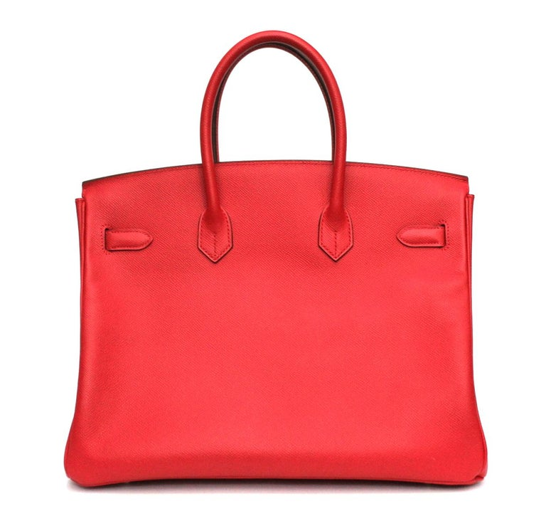 Hermes Birkin 35 Epsom Rouge Casaque In Good Condition For Sale In Torre Del Greco, IT