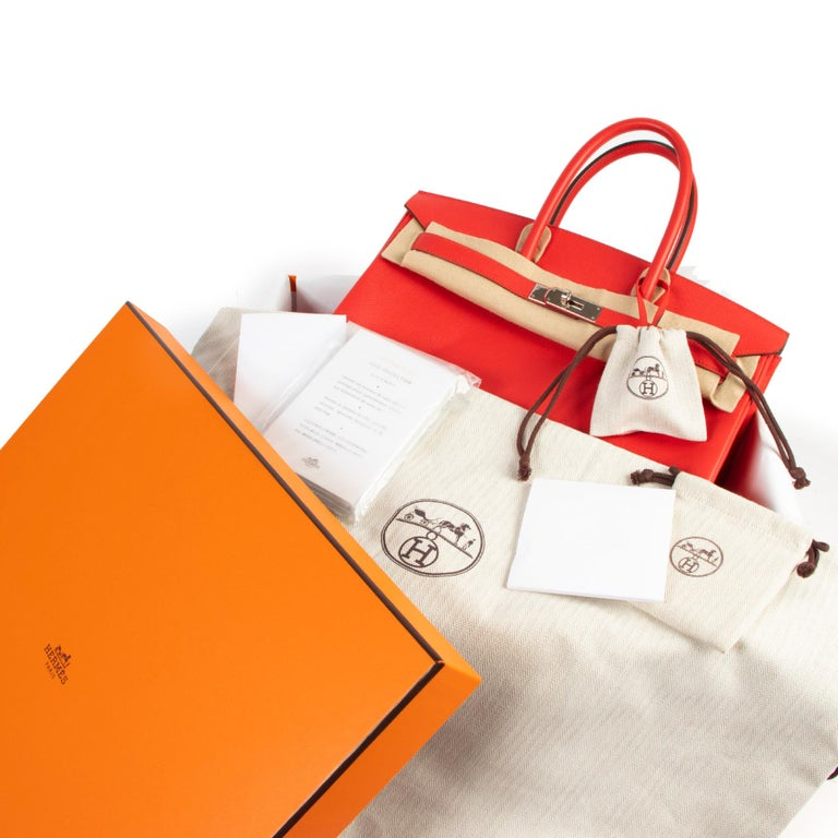 Excellent condition  Hermes Birkin 35 Epsom Rouge Tomate PHW  This beautiful and iconic Birkin bag designed by Hermès comes in vibrant red