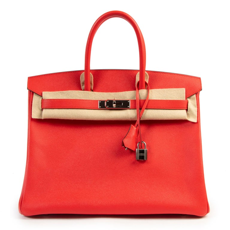 Hermes Birkin 35 Epsom Rouge Tomate PHW In Excellent Condition In Antwerp, BE
