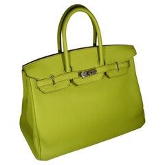 Hermes Birkin 35 Epsom Vert Anis Palladium Hardware Handbag