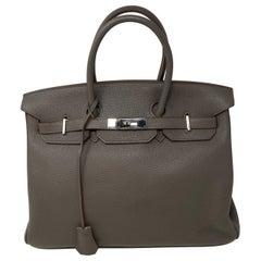 Hermes Birkin 35 Etain Togo Leather Bag