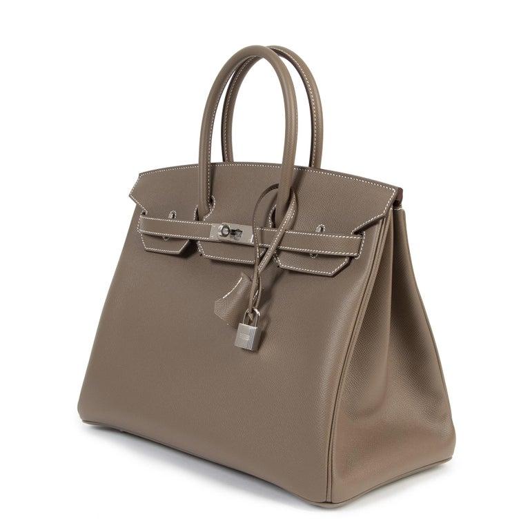 Women's or Men's Hermès Birkin 35 Etoupe Epsom PHW For Sale