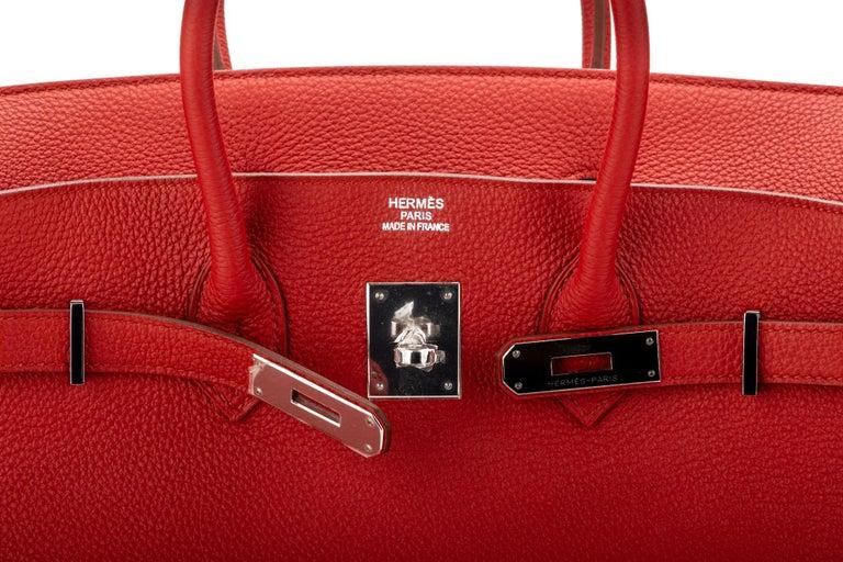 Hermes Birkin 35 Geranium Togo Palladium Bag For Sale 5