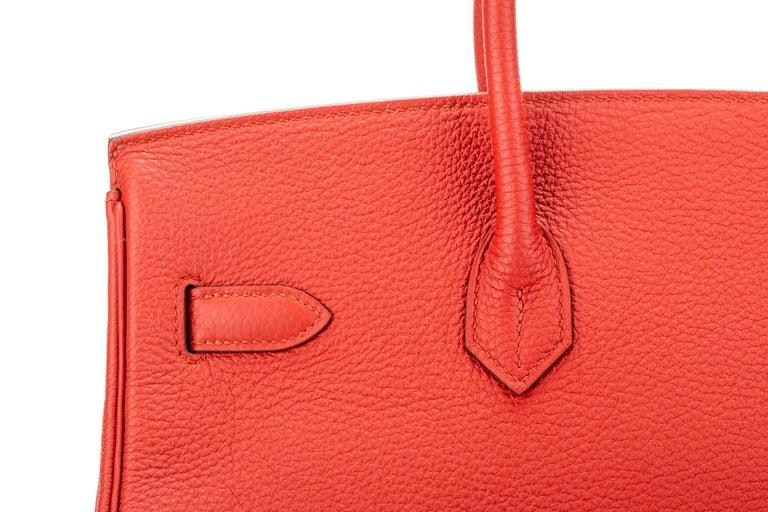 Hermes Birkin 35 Geranium Togo Palladium Bag For Sale 6