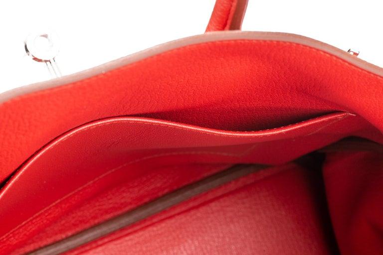 Hermes Birkin 35 Geranium Togo Palladium Bag For Sale 8