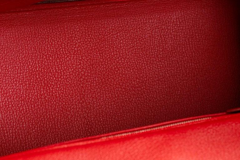 Hermes Birkin 35 Geranium Togo Palladium Bag For Sale 9