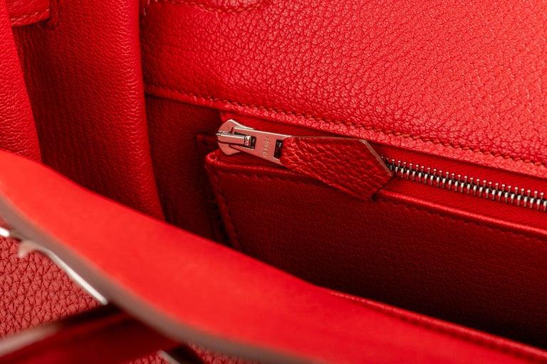 Hermes Birkin 35 Geranium Togo Palladium Bag For Sale 10