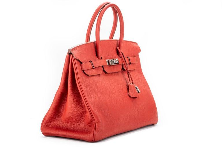 Red Hermes Birkin 35 Geranium Togo Palladium Bag For Sale