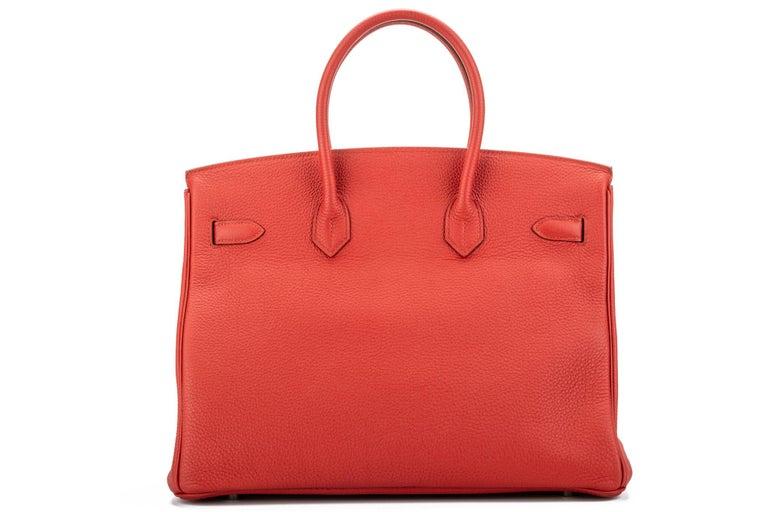 Hermes Birkin 35 Geranium Togo Palladium Bag In Excellent Condition For Sale In West Hollywood, CA