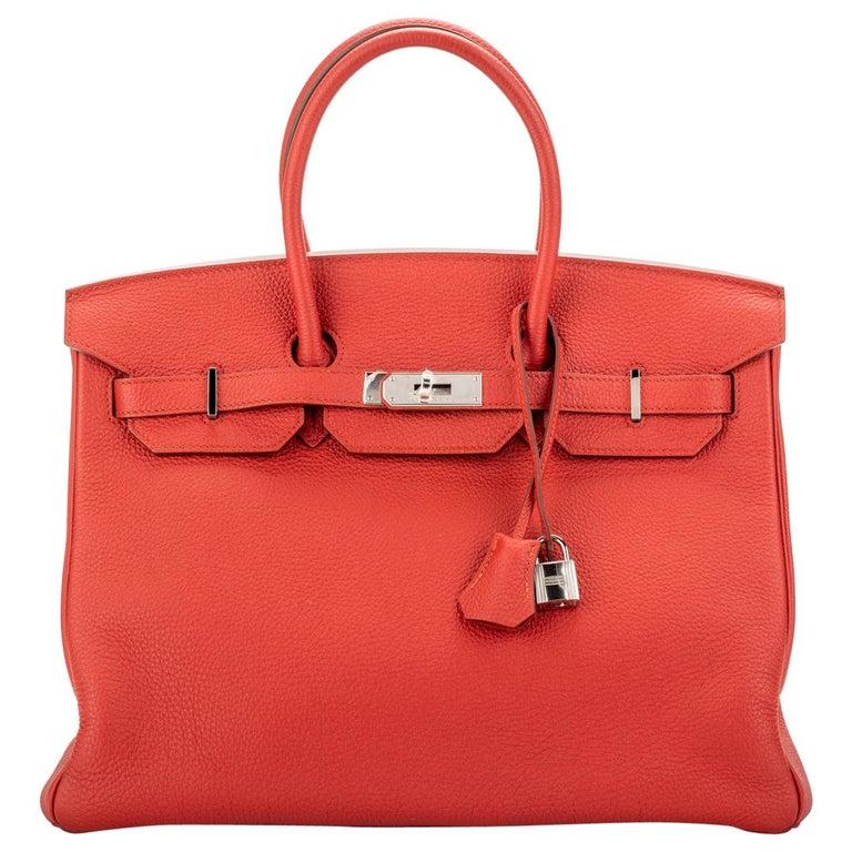 Hermes Birkin 35 Geranium Togo Palladium Bag For Sale