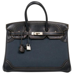 Hermes Birkin 35 Ghillies Denim Fonce Toile / Black Evercalf Bag Limited Edition