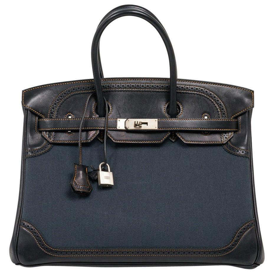 Hermes Birkin 35 Ghillies Denim Fonce Toile / Black Evercalf Bag Limited Edition