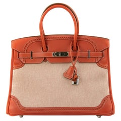 Hermes Birkin 35 Ghillies Limited Edition Bag Sanguine Toile/Swift