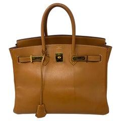 Hermes Birkin 35 Gold Bag