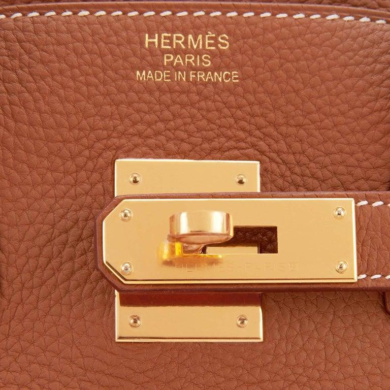 Hermes Birkin 35 Gold Togo Camel Tan Gold Hardware Bag D Stamp, 2019 For Sale 6