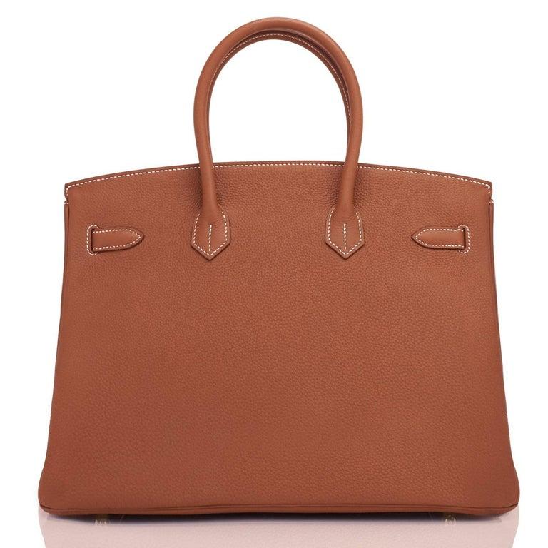 Hermes Birkin 35 Gold Togo Camel Tan Gold Hardware Bag D Stamp, 2019 For Sale 2