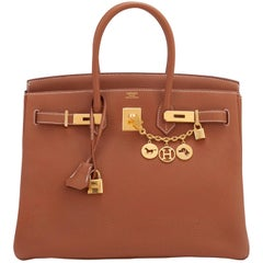 Hermes Birkin 35 Gold Togo Camel Tan Gold Hardware Bag D Stamp, 2019