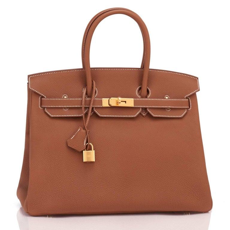 Women's or Men's Hermes Birkin 35 Gold Togo Camel Tan Gold Hardware Bag D Stamp For Sale