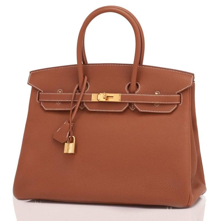 Hermes Birkin 35 Gold Togo Camel Tan Gold Hardware Bag D Stamp For Sale 3
