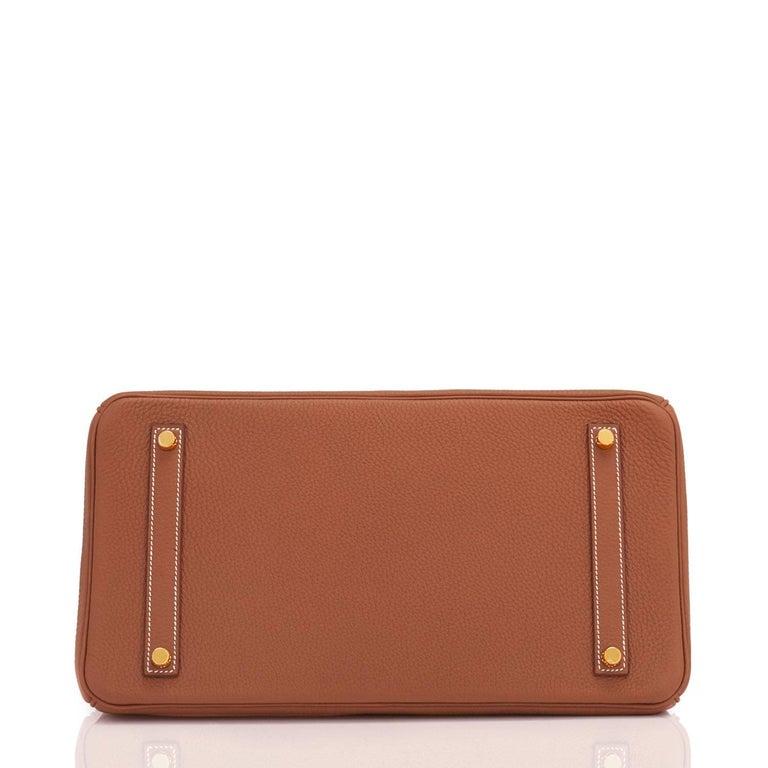 Hermes Birkin 35 Gold Togo Camel Tan Gold Hardware Bag D Stamp For Sale 4