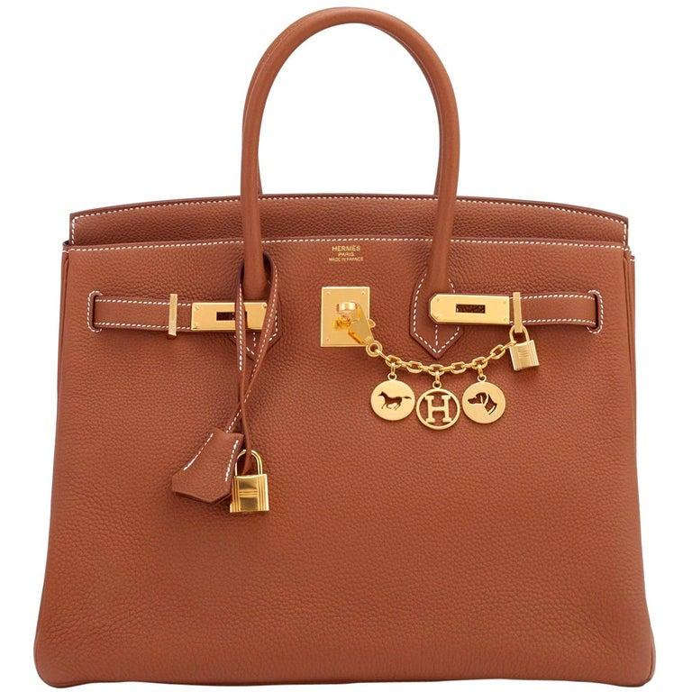 Hermes Birkin 35 Gold Togo Camel Tan Gold Hardware Bag D Stamp For Sale