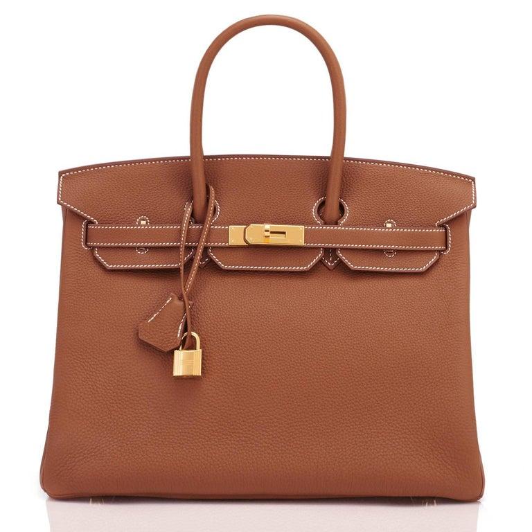 Brown Hermes Birkin 35 Gold Togo Camel Tan Gold Hardware Bag NEW For Sale