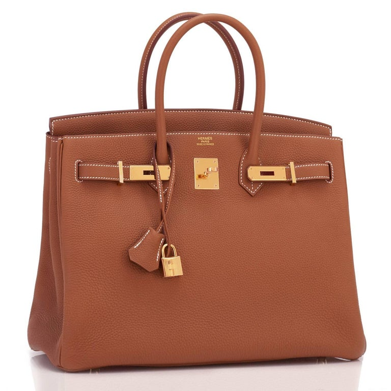 Hermes Birkin 35 Gold Togo Camel Tan Gold Hardware Bag NEW In New Condition For Sale In New York, NY