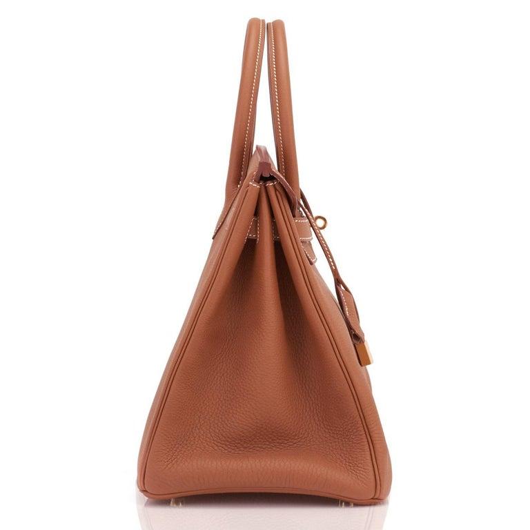 Hermes Birkin 35 Gold Togo Camel Tan Gold Hardware Bag NEW For Sale 2