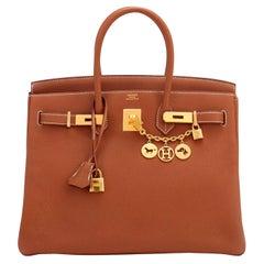 Hermes Birkin 35 Gold Togo Camel Tan Gold Hardware Bag NEW