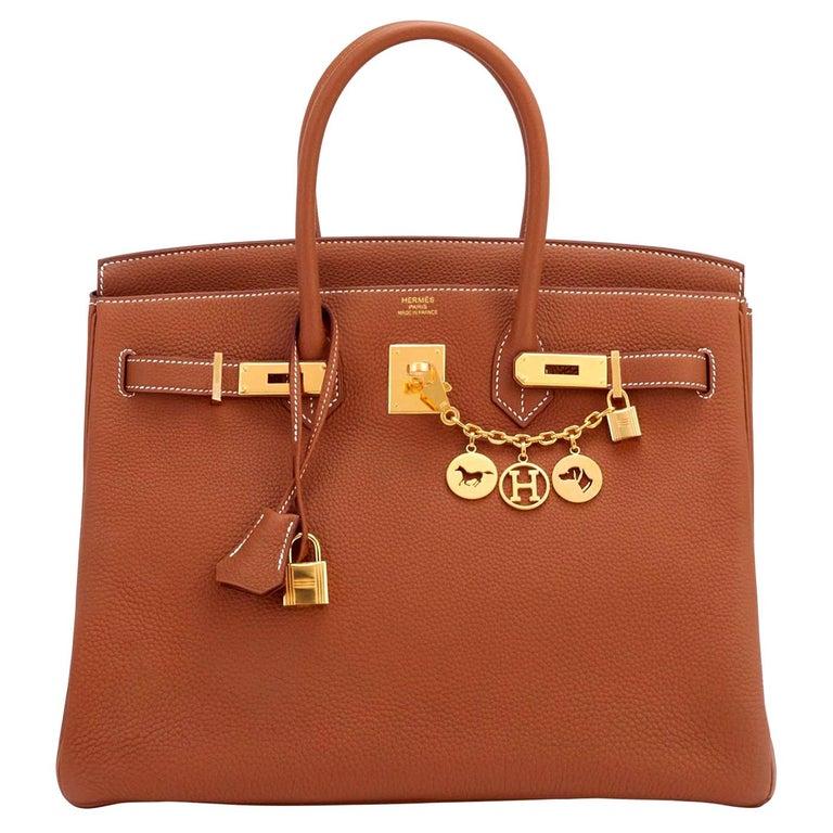 Hermes Birkin 35 Gold Togo Camel Tan Gold Hardware Bag NEW For Sale