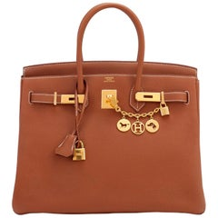 Hermes Birkin 35 Gold Togo Camel Tan Gold Hardware Bag Y Stamp, 2020