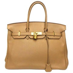 Hermés Birkin 35 Gold Togo Leather Bag With Gold Hardware