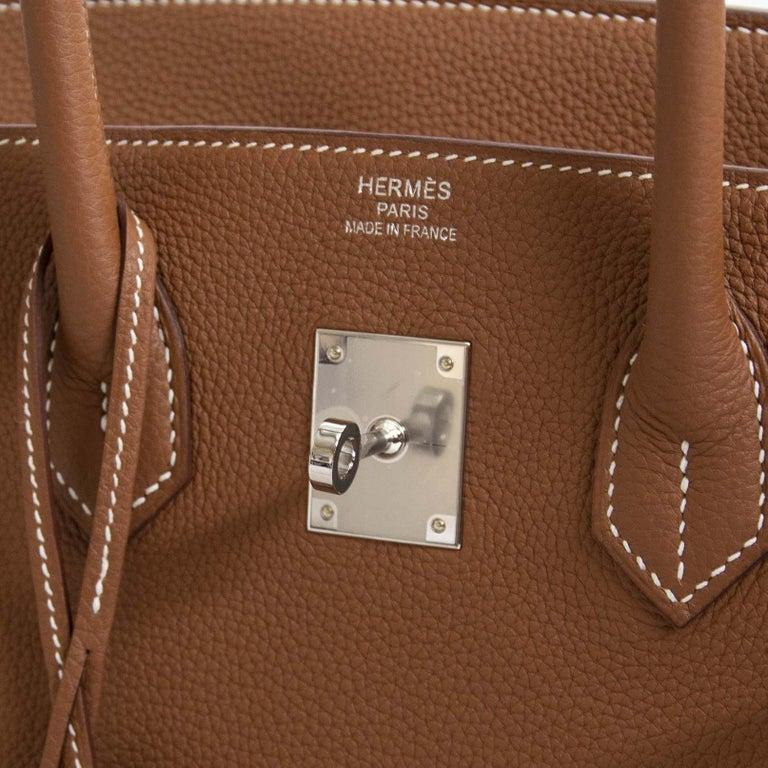 Hermès Birkin 35 Gold Togo PHW For Sale 4