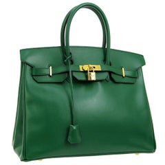 Hermes Birkin 35 Green Leather Gold Top Carryall Handle Satchel Travel Tote Bag