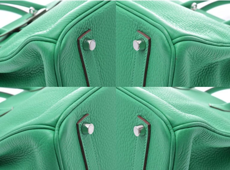 Hermes Birkin 35 Green Leather Palladium Carryall Top Handle Satchel Tote 1