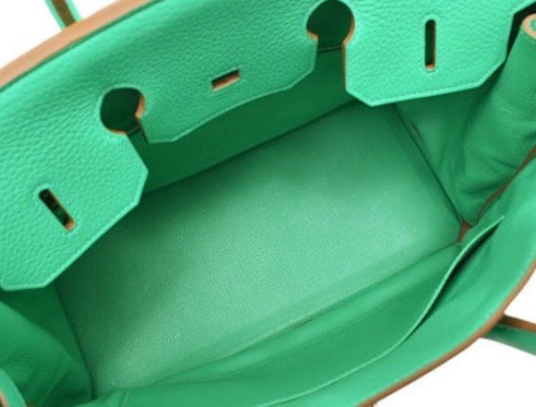 Hermes Birkin 35 Green Leather Palladium Carryall Top Handle Satchel Tote 3