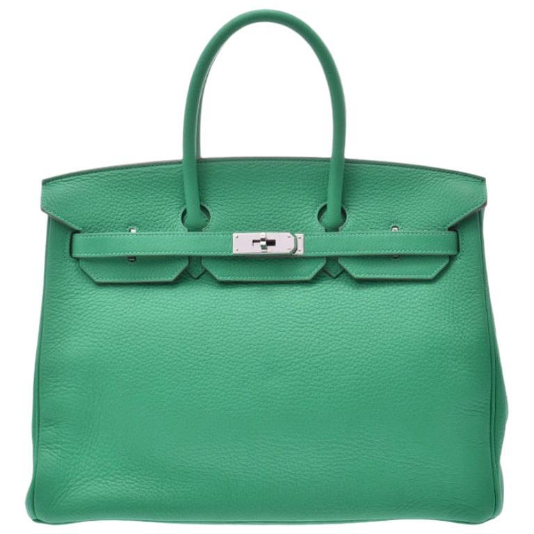 Hermes Birkin 35 Green Leather Palladium Carryall Top Handle Satchel Tote