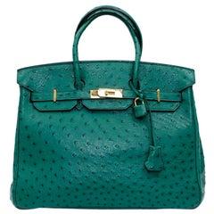 Hermes Birkin 35 Green Ostrich Vertigo Bag
