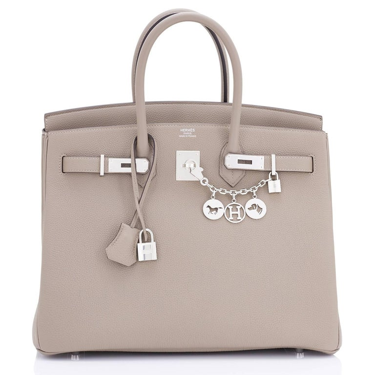 Hermes Birkin 35 Gris Asphalte Dove Grey Togo Palladium Bag Devastatingly gorgeous!   Gris Asphalte is a brand new color, and the best neutral to come from Hermes in many years. Brand New in Box. Store fresh. Pristine Condition (with plastic on
