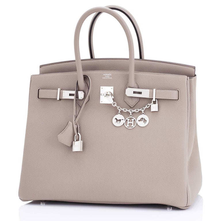 Hermes Gris Asphalte Dove Grey Togo Palladium Asphalt Birkin 35 Bag In New Never_worn Condition For Sale In New York, NY