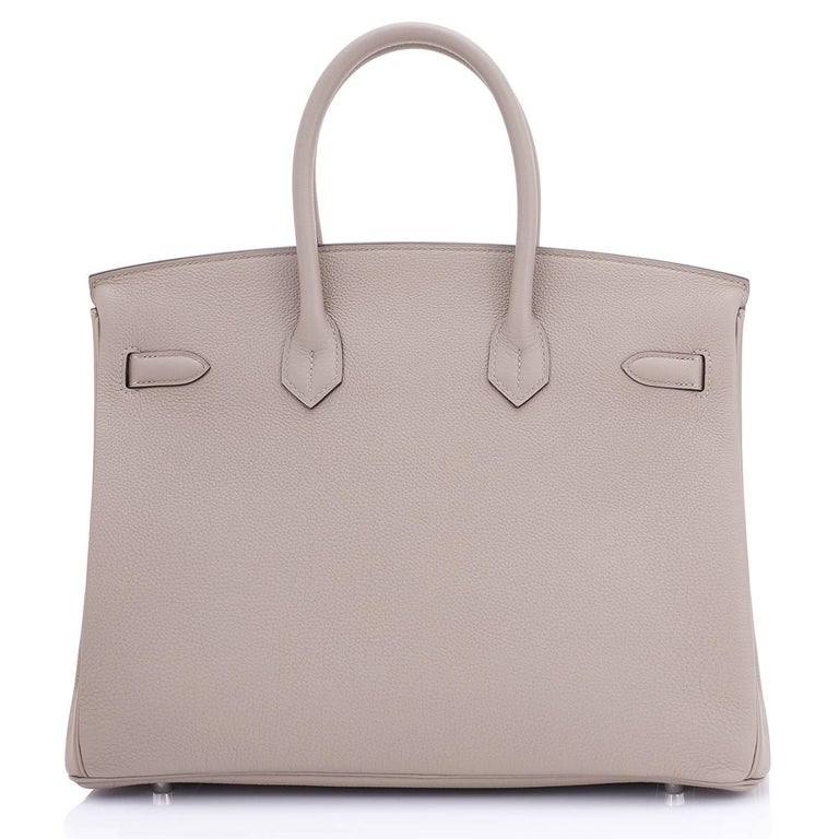 Hermes Gris Asphalte Dove Grey Togo Palladium Asphalt Birkin 35 Bag For Sale 1