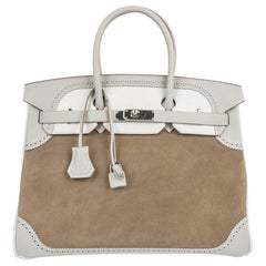 Hermes Birkin 35 Grizzly Ghillies Bag Gris Perle Tri Colour Limited Edition Rare