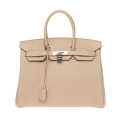 Hermès Birkin 35 handbag in Argile Taurillon Clémence leather, PHW almost new !