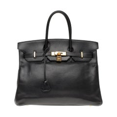 Hermès Birkin 35 handbag in black Courchevel leather, Gold hardware